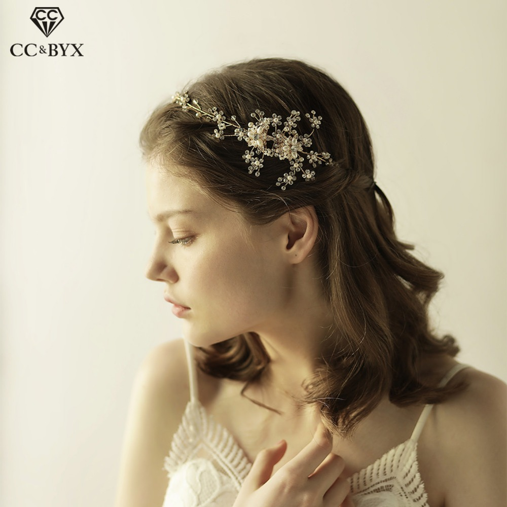CC Wedding Crystl Pearl Headbands Vintage Hairbands Flower Beads Crowns Bridal Hair Accessories Party Romantic Jewelry Gift O825