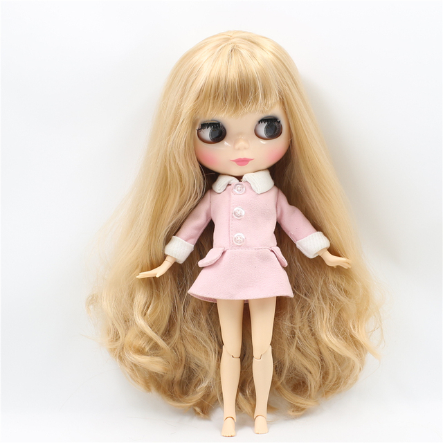 Nude Natural Skin 1/6 Blyth Doll with Bangs Golden Brown Hair ICY DIY 30cm with Joint Body toy gift bjd neo No. 2240/3227