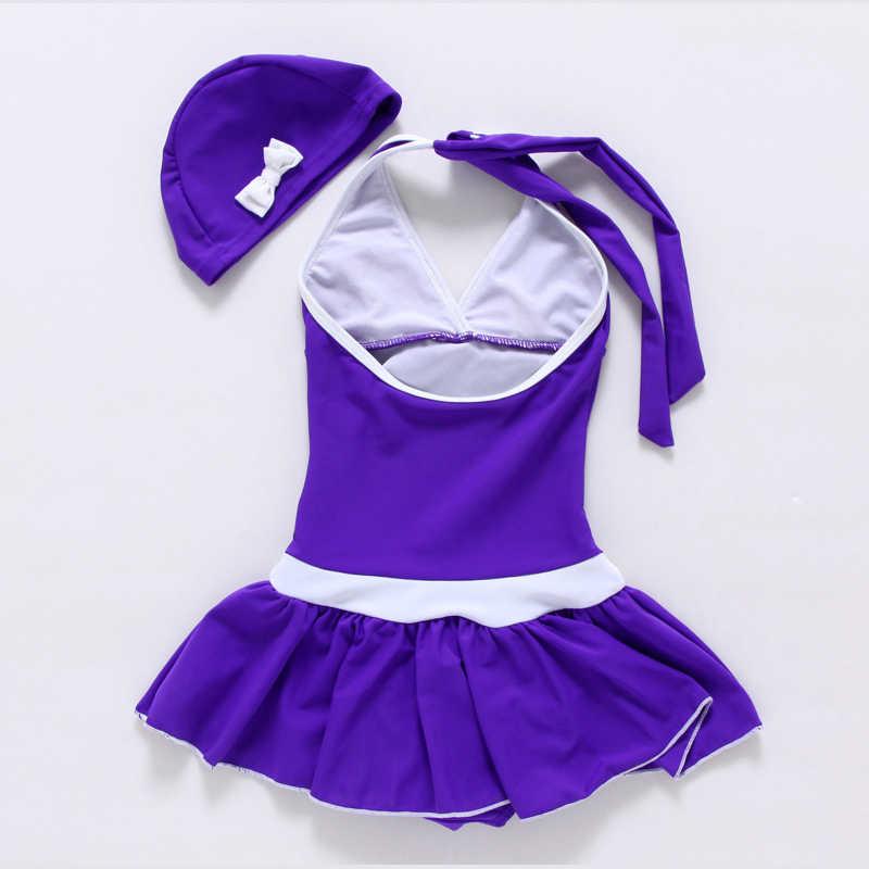 4703aee9c68c7 ... Free Shipping 2019 Solid Polyester Kids Girls Swimwear Swimsuit  Swimming Girl Style Summer Children one piece ...