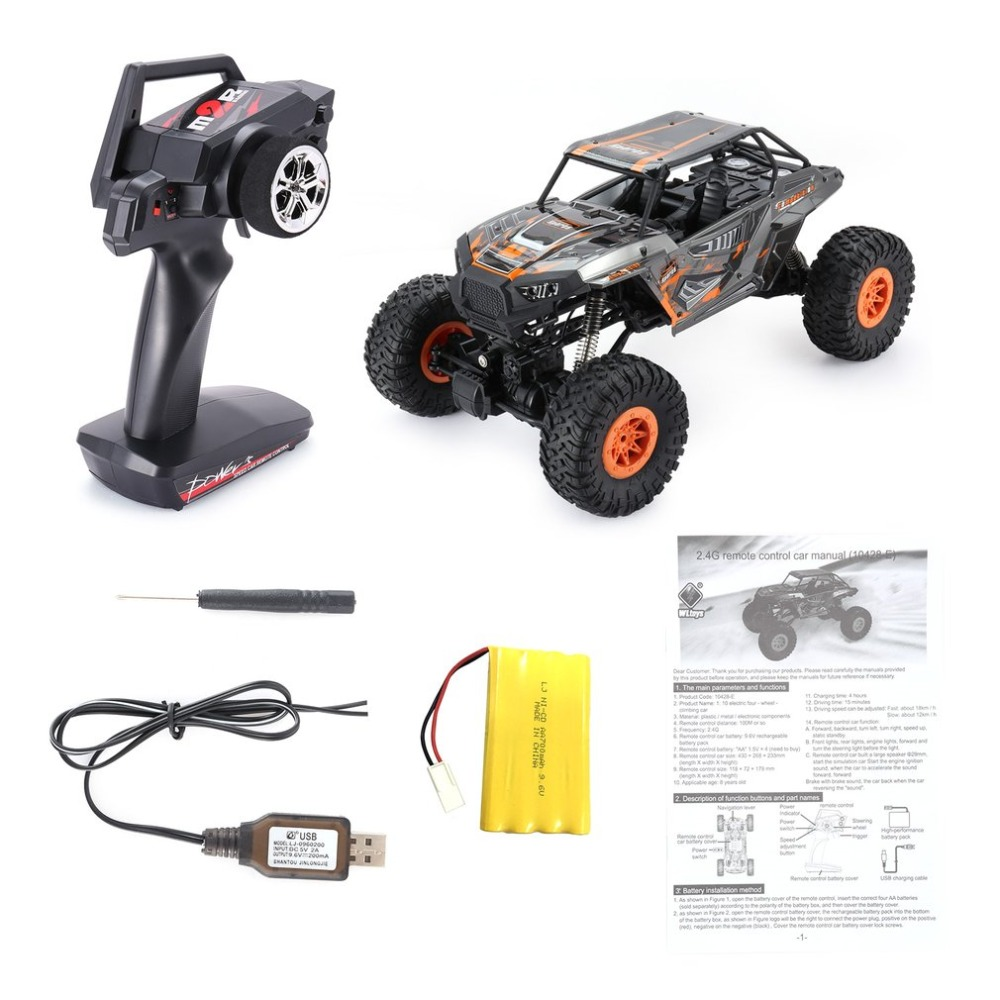 Wltoys 10428-E 1/10 2.4G 4WD Electric Rock Climbing Crawler RC car Desert Truck Off-Road Buggy Vehicle with LED Light RTR hongnor ofna x3e rtr 1 8 scale rc dune buggy cars electric off road w tenshock motor free shipping