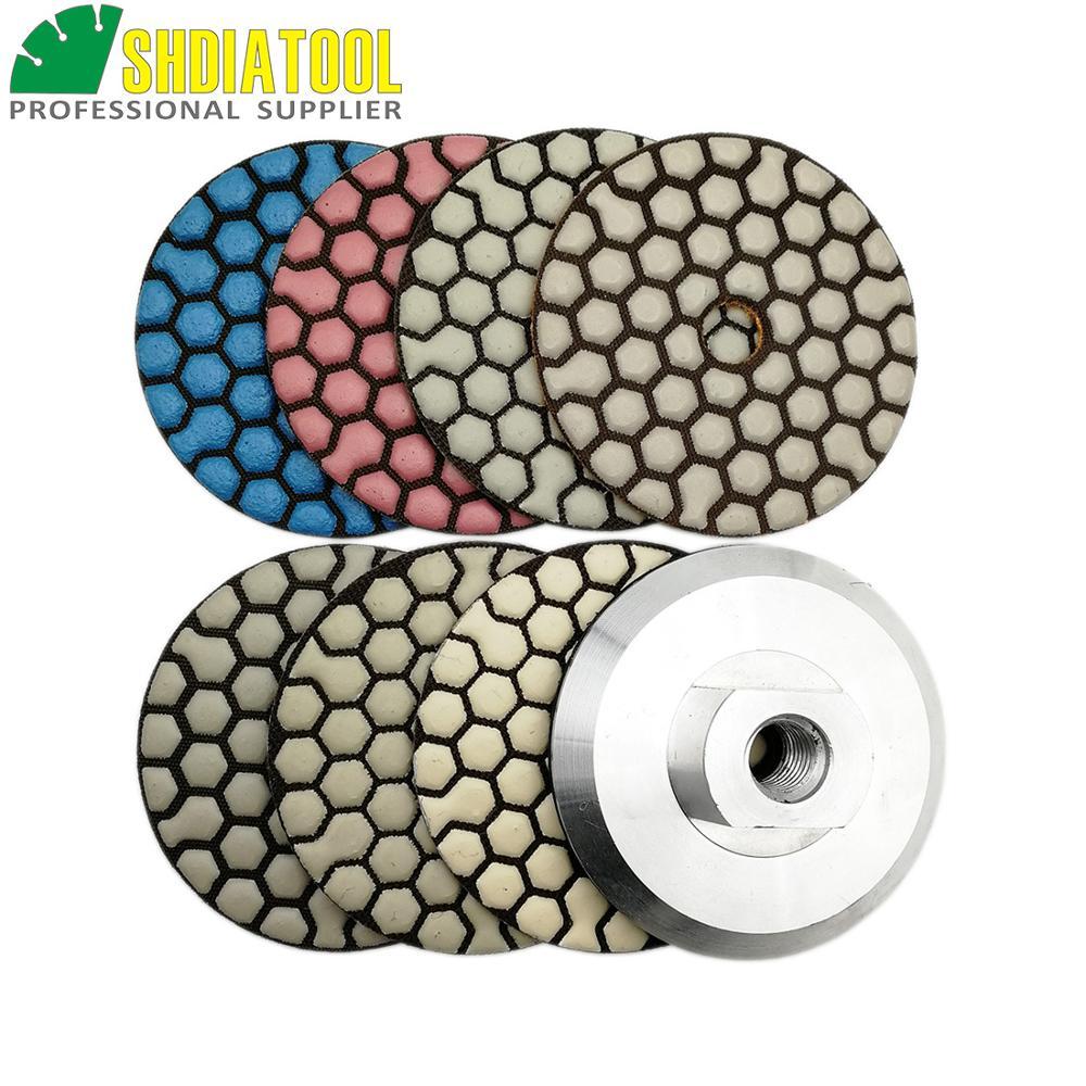 SHDIATOOL 7pcs/set 80mm Diamond Flexible Dry Polishing Pad & 1pc Aluminum Based Backer Granite Marble Ceramic 3