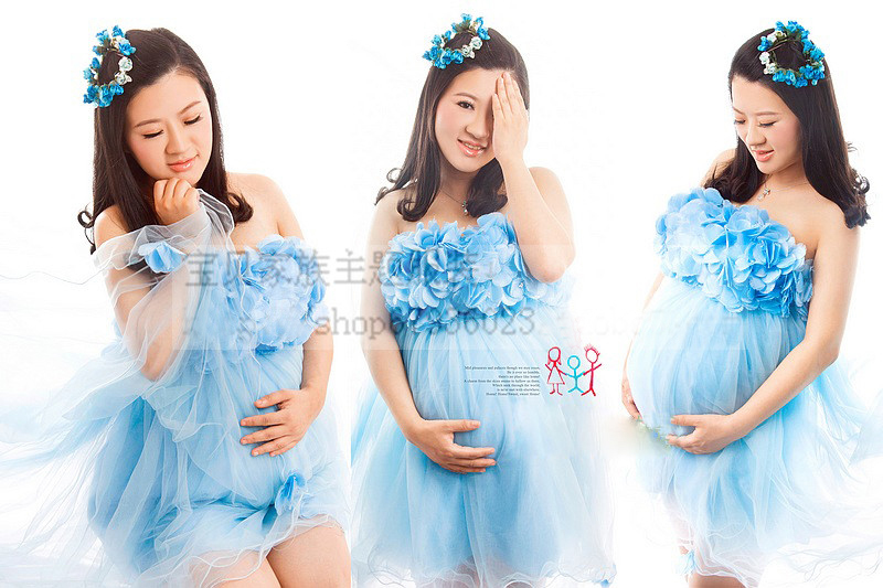 ФОТО New Maternity Photography Props clothing for pregnant  women Pregnancy Blue angel set summer style Photo Shoo Baby Shower