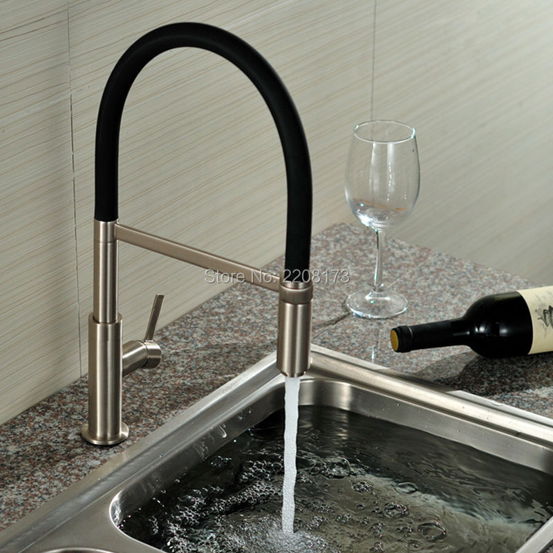 New Arrival Patent Design 360 Swivel Solid Brass Single Handle Mixer Sink Tap Pull Out Down Kitchen Faucet In Brushed Nickel kitchen chrome plated brass faucet single handle pull out pull down sink mixer hot and cold tap modern design