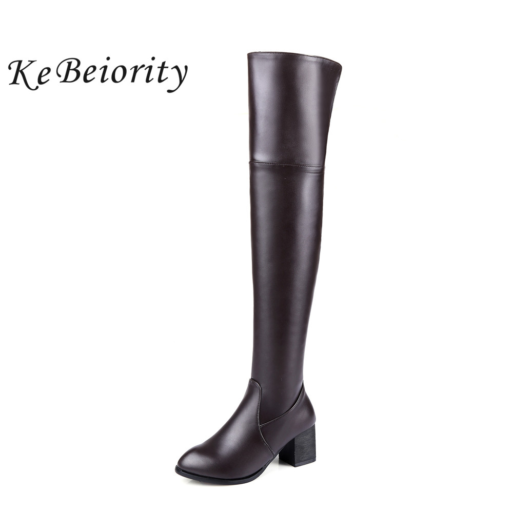 KEBEIORITY Sexy White Black Brown Thigh High Boots Women Thick Heel Pointed Toe Autumn Over the Knee Boots Leather Plus Size nemaone plus size hot spring autumn women boots sexy high heel over the knee soft pu leather black white fashion high boots