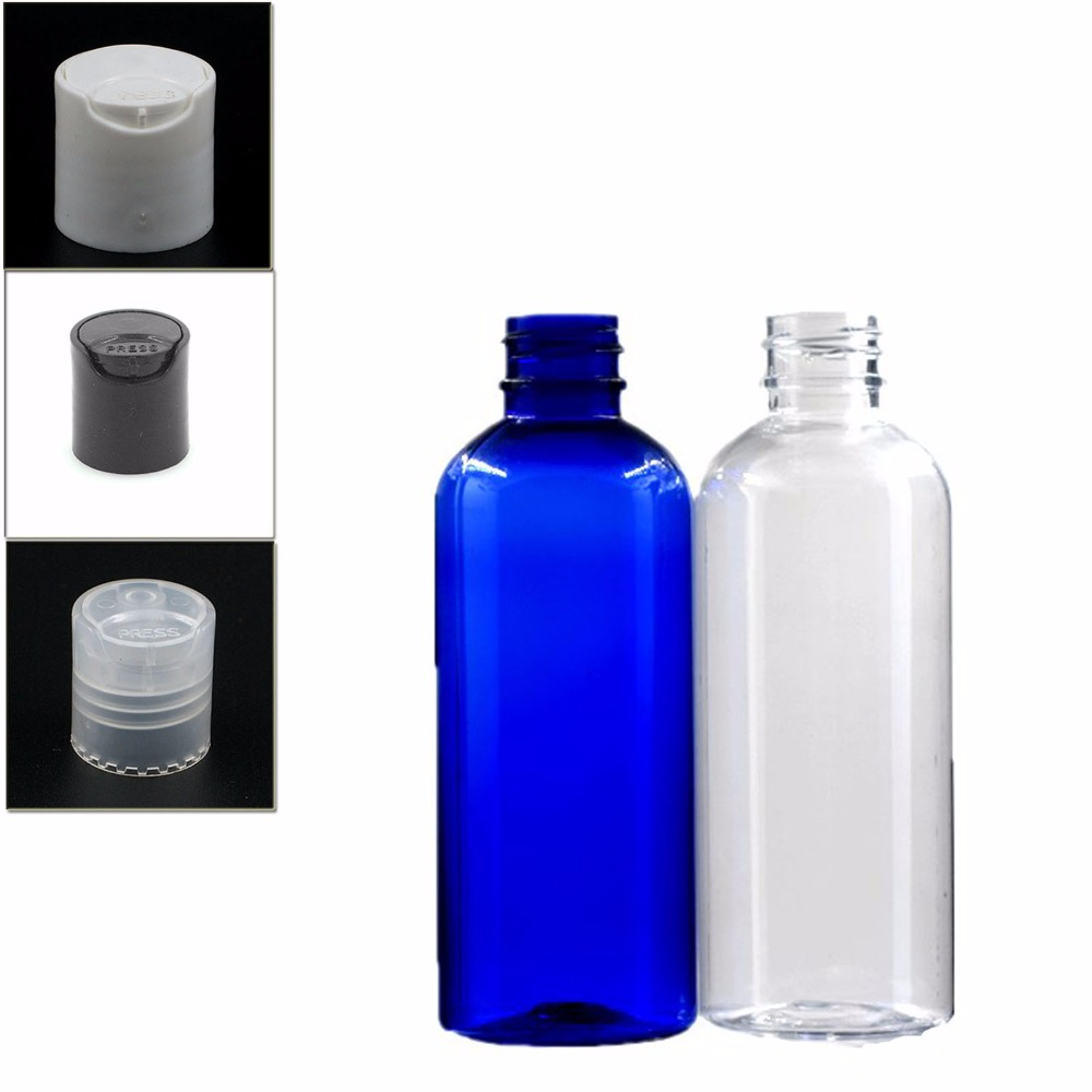 100ml Empty Dispensing Caps  Plastic Bottles, Blue/clear Pet Bottle With Transparent/white/black Disc-top Cap X 5
