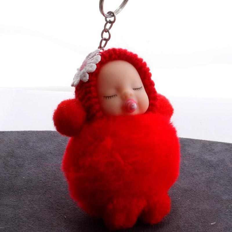 Bebê dormir boneca bola chaveiro carro chaveiro titular saco pingente charme chaveiro pele de pelúcia nova bonito das mulheres chave