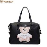 داني bear 2017 نساء حقائب جلدية الرجال حقيبة جلدية كبيرة حقيبة سفر فاخرة أسود حمل حقيبة خمر حقيبة جلدية الكتف