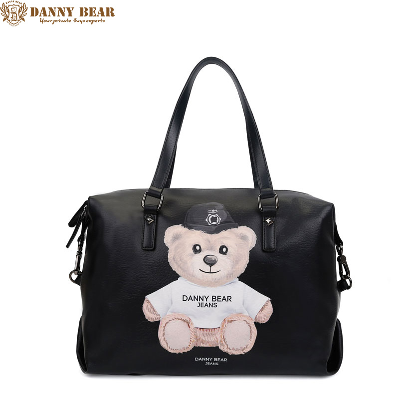 DANNY BEAR 2017 Women Leather Handbags Men Handbag Large Leather Travel Bag Luxury Black Tote Bag Vintage Leather Shoulder Bag high quality authentic famous polo golf double clothing bag men travel golf shoes bag custom handbag large capacity45 26 34 cm