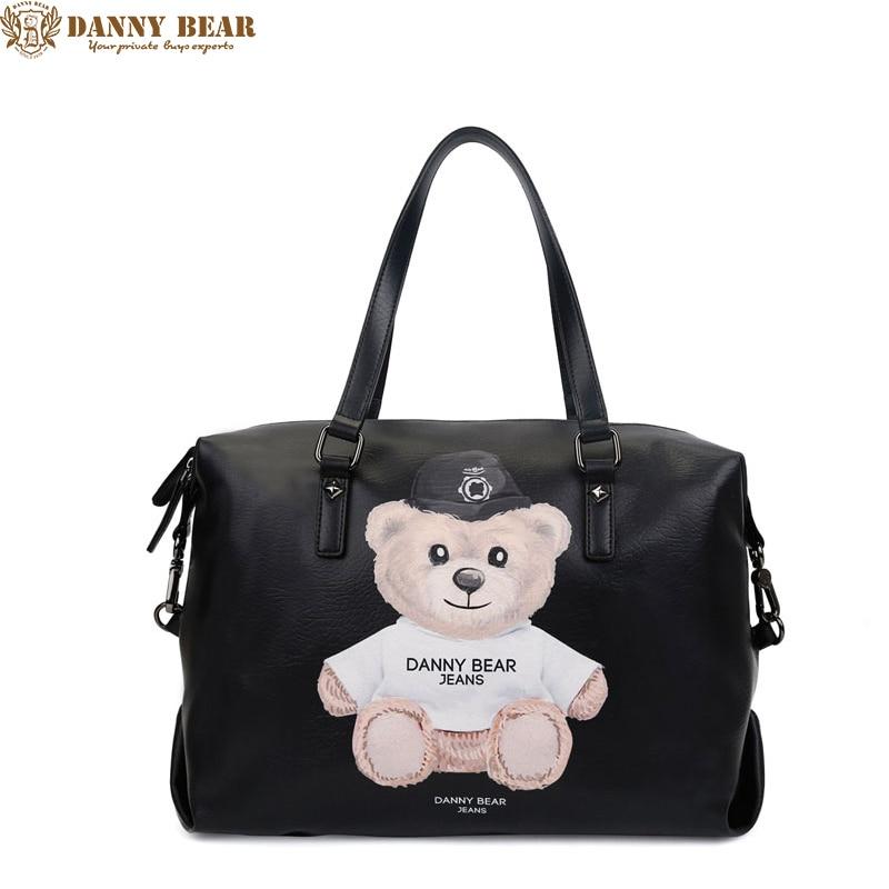 Danny Bear 2017 Для женщин кожа Сумки Для мужчин сумка большая кожаная дорожная сумка Роскошный Черный сумка Винтаж кожаная сумка