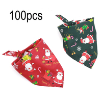 100Pcs/Pack Dog Scarf Reversible Triangular Bibs Cotton Dog Scarf Accessories for Large Dogs Cats Pets Animals