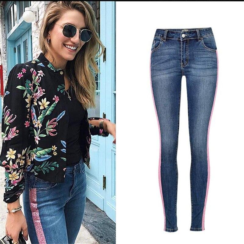 Streetwear Paillettes Taille Haute Jeans Femmes Skinny Boyfriend Denim Jeans Affligée Plus La Taille