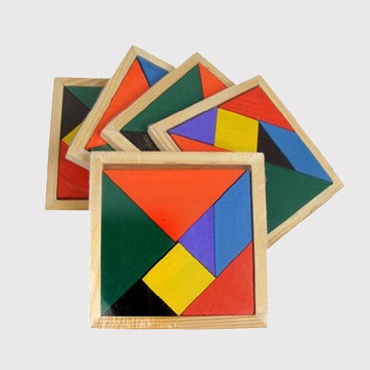 Wooden Tangram 7 Piece Jigsaw Puzzle Toys For Children Colorful Learning Educational Square Cube Game Brain Intelligent Toys