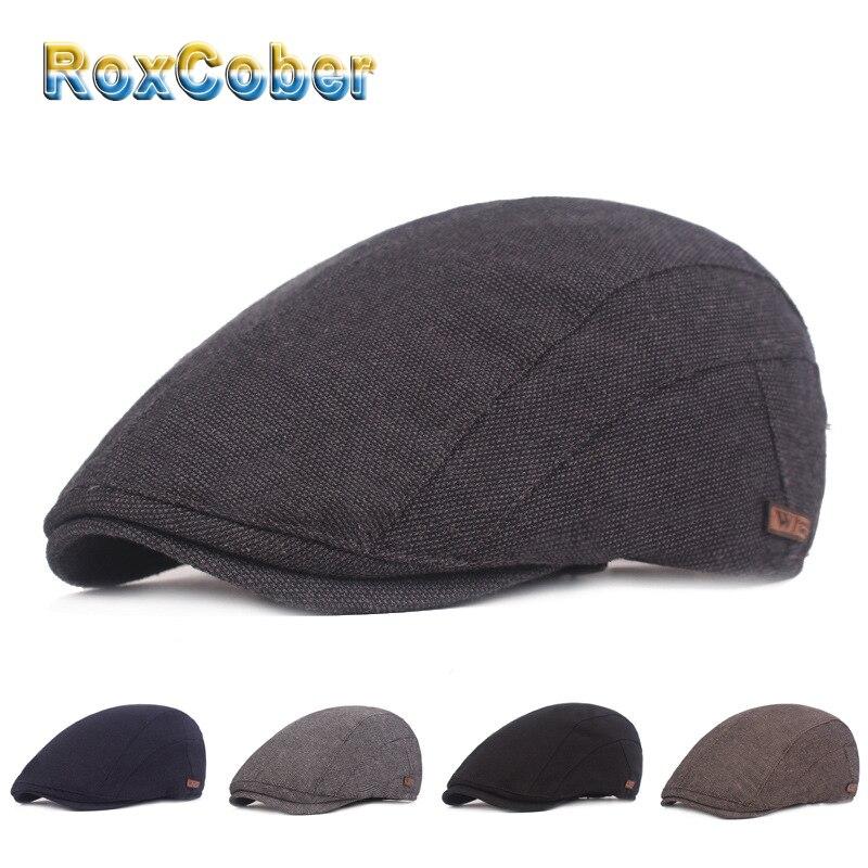 RoxCober Vintage Cotton Newsboy Caps Gatsby Hats Ivy Golf Driving Sun Flat Cabbie Cap Peaky Blinder For Men Women Hat 351