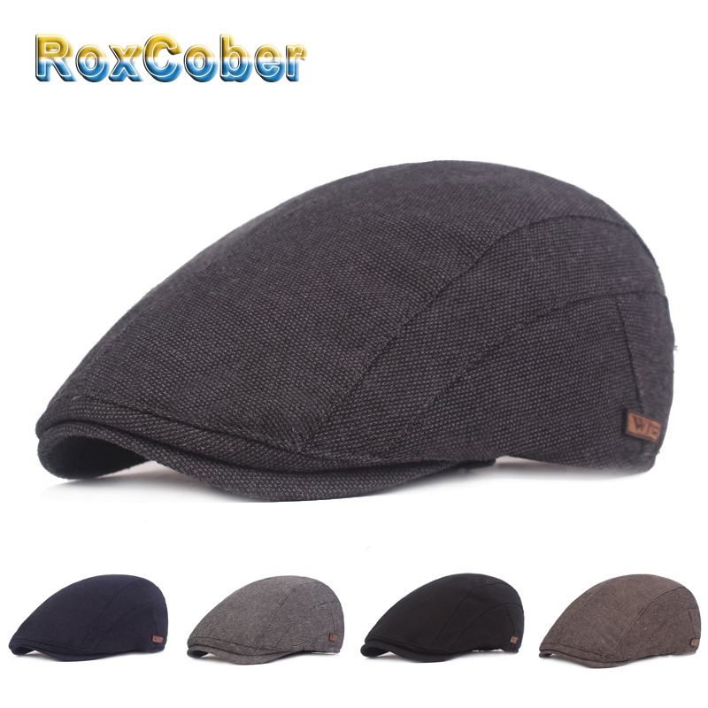 RoxCober Vintage Newsboy Caps Gatsby Hats Ivy Golf Driving Sun Flat Cabbie Cap Peaky Blinder For Men Women Hat Spring Autumn