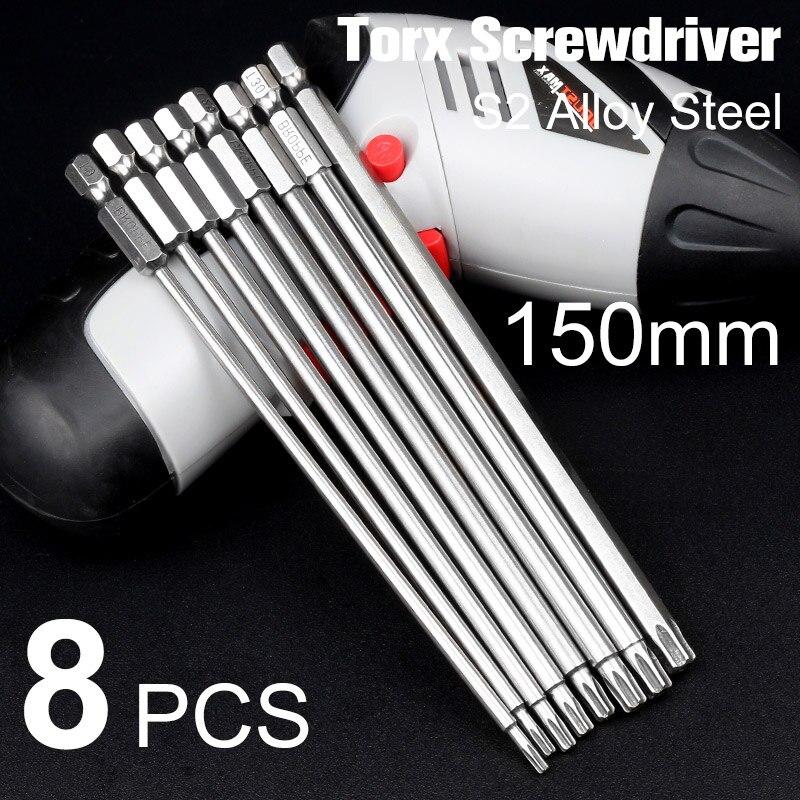 Doersupp 8Pcs 8 Sizes Electric 150mm Long 1/4 Inch Hex Shank Magnetic Torx Screwdriver Bits Set T9 T10 T15 T20 T25 T27 T30 T40 t27 4 5x1 8x7 8 pipe cut a24t