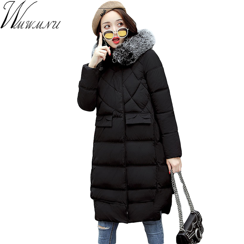 Wmwmnu 2017 women jacket and parkas cotton long padded casual jacket loose big yards women's winter fur collar coat with hood 2015the new women s clothing han edition cotton padded clothes coat long big yards more loose tooling cotton padded jacket