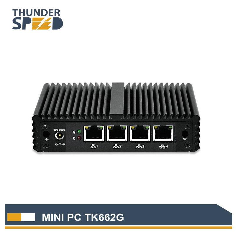 ThunderSpeed Barebone Mini PC J1900 Quad Core NUC 4 LAN Firewall Router Fanless Nano ITX Computer Win7 Win10 Linux Pfsense OS fanless nano itx board q1800g2 p j1800 dual core dual lan 4 com dc 12v vga dual display dc 12 12 cm win 7 win 10 linux wol pxe