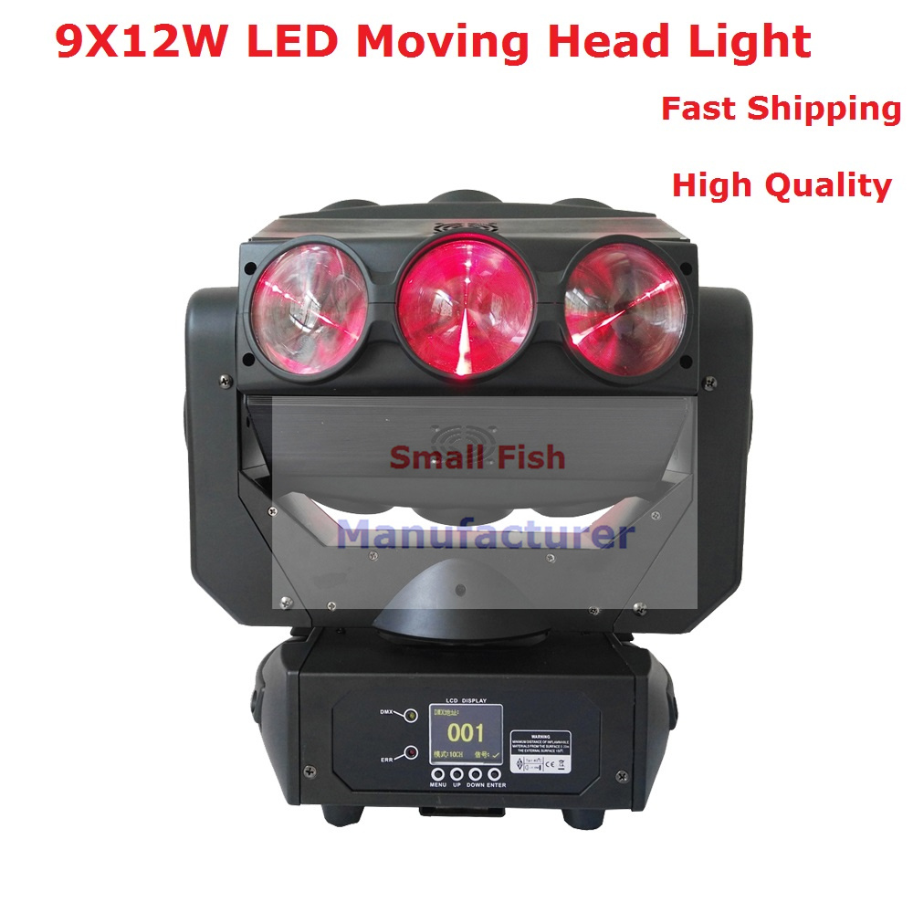 Cheap Price 9X12W Led Beam Moving Head Light 130W Disco DJ Laser Effect Light For Professional Stage Party Shows New Arrival cheap price new 4lens led pattern light 4 eyes led gobo effect light beam dj disco light factory directly sale