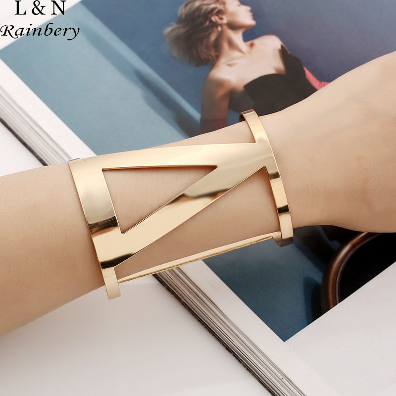 Rainbery Vintage Triangle Curved Cuff Bracelet Boho Statement Bangles Letter Bracelets Bangles Women Jewelry