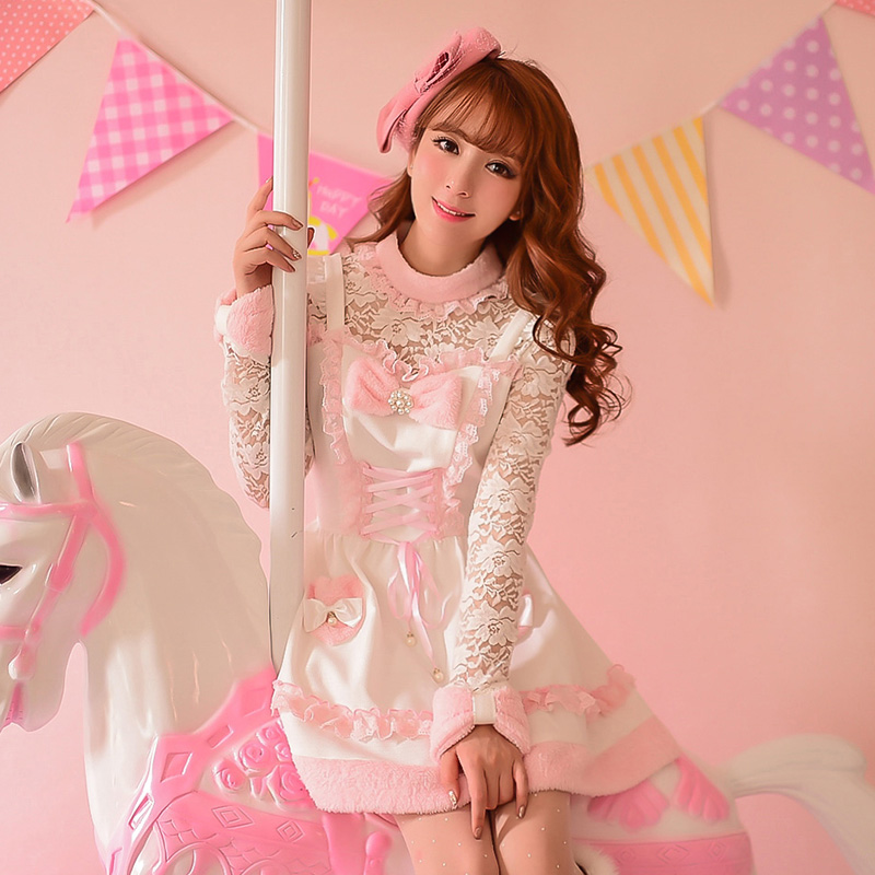 Princess sweet lolita pink dress Candy rain Bow decoration A line round collar Lace Embroidery Japanese