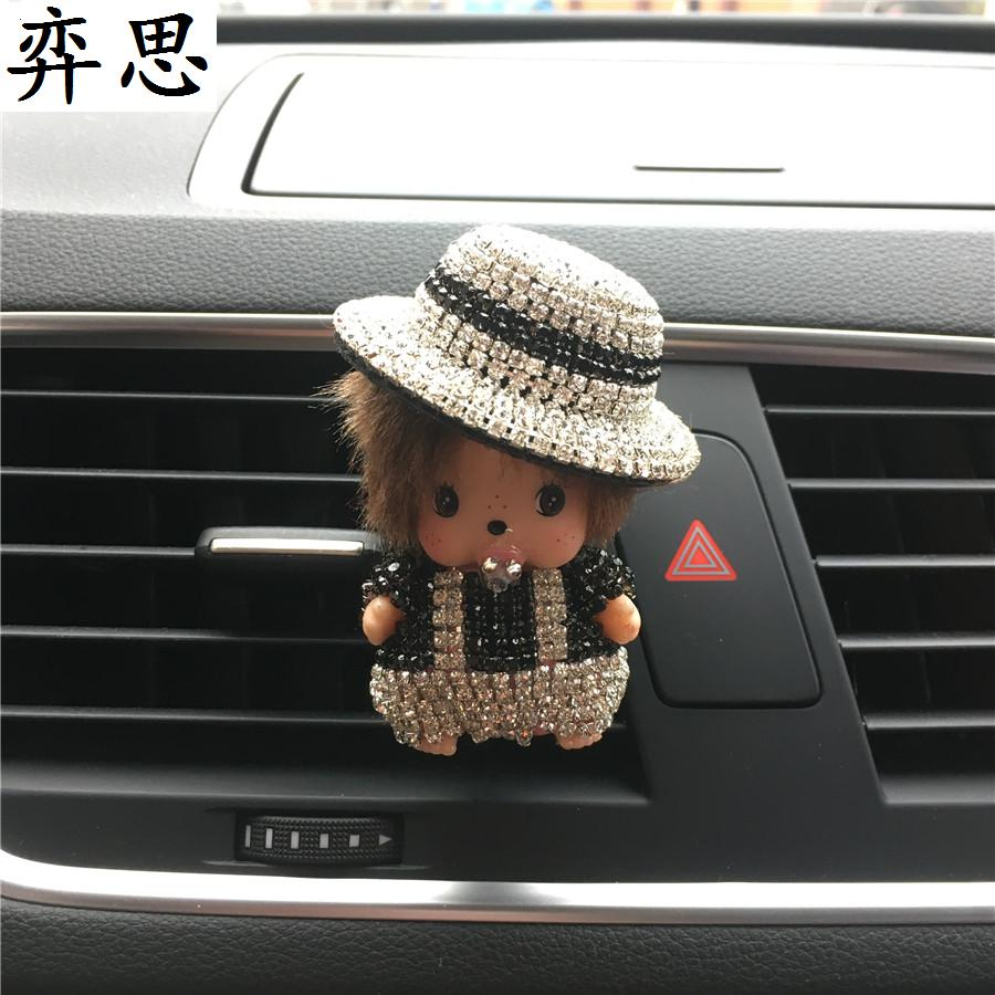 Rhinestone cute boy Kiki and girl Kiki doll Car styling perfume Air conditioner decorative clamp car air freshener perfume