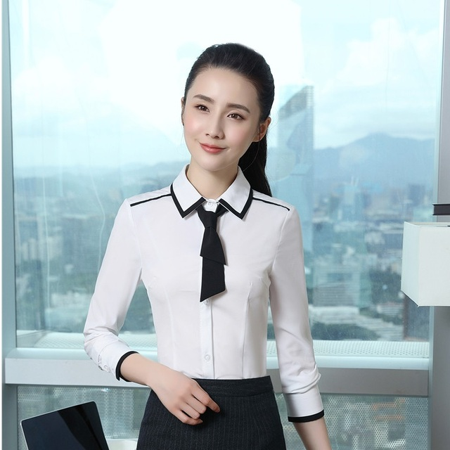 Office Ladies Formal Blouses Shirts Ol Styles With Tie For Women