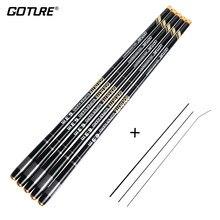 Goture carpa alimentador vara de pesca de fibra de carbono varas telescópicas mão pólo 3.6-7.2m stream varas enfrentar vara de pesca