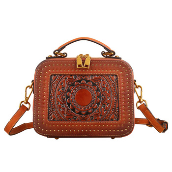 Nesitu Highend Flower Pattern Vintage Brown Grey Red Green Genuine Leather Small Women Handbag Shoulder Messenger Bag Tote M3039