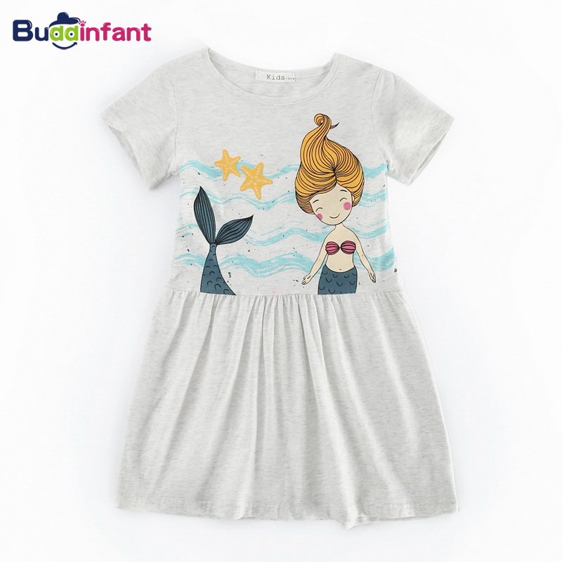 Summer Children's <font><b>Girls</b></font> Clothes Sleeveless <font><b>T</b></font>-<font><b>shirt</b></font> <font><b>Dress</b></font> mermaid sea printing cotton casual beach <font><b>dresses</b></font> for <font><b>girl</b></font> baby toddler image