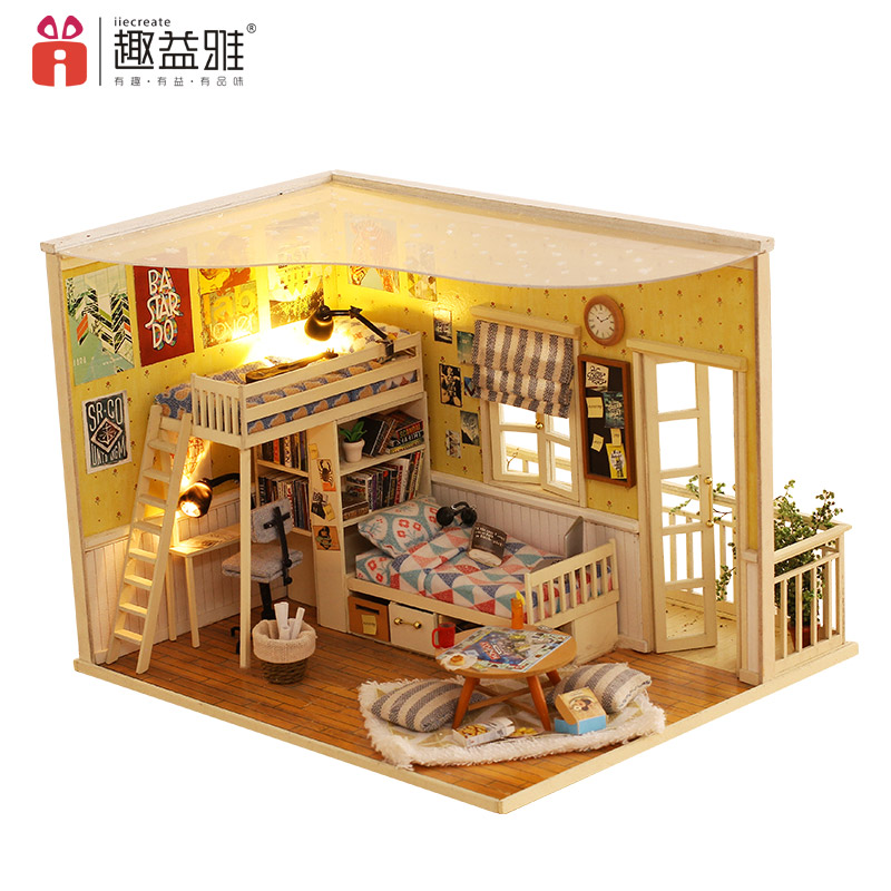 iiE CREATE DIY Hut Hand Assembled Model Wooden Puzzle 3D Miniature Doll House with Furniture Kit Toys for Kids My Little Houses puzzled gothic house wooden 3d puzzle construction kit