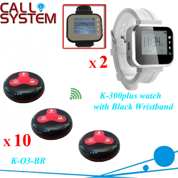 Wireless calling system for restaurant, hotel, waiter call system 10 call buttons with 2pcs receiver watch 200m wireless restaurant calling waiter system pager for hotel 1 watch 5 buttons