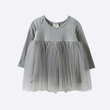 Free shipping Spring autumn baby cotton gauze dress long sleeved tee Princess Dress Girls clothing