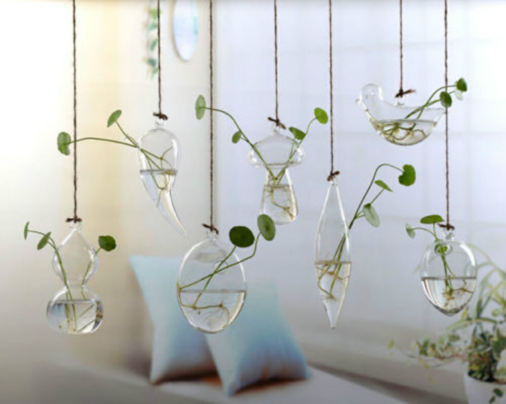 Flower Hanging Vase Glass Planter Plant Terrarium Container Home Wedding Decor Air Planter Decoratives Vase