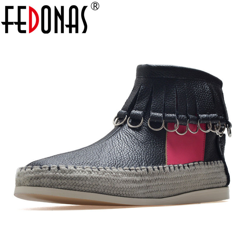 FEDONAS Fashion Women Casual Ankle Boots Genuine Leather Autumn Winter Warm Flats Shoes Woman Fringe Prom Party Shoes Short Boot new 28 color casual boot genuine leather flats shoes shoelace shoes boot lace shoes strap shoeslaces 500pairs lot via dhl ems