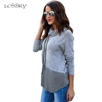 LOSSKY Fashion Patchwork Hoodies Women 2018 Newest Spring Autumn Hooded Long Sleeved Pullovers Hoodies Sweatshirts Kpop