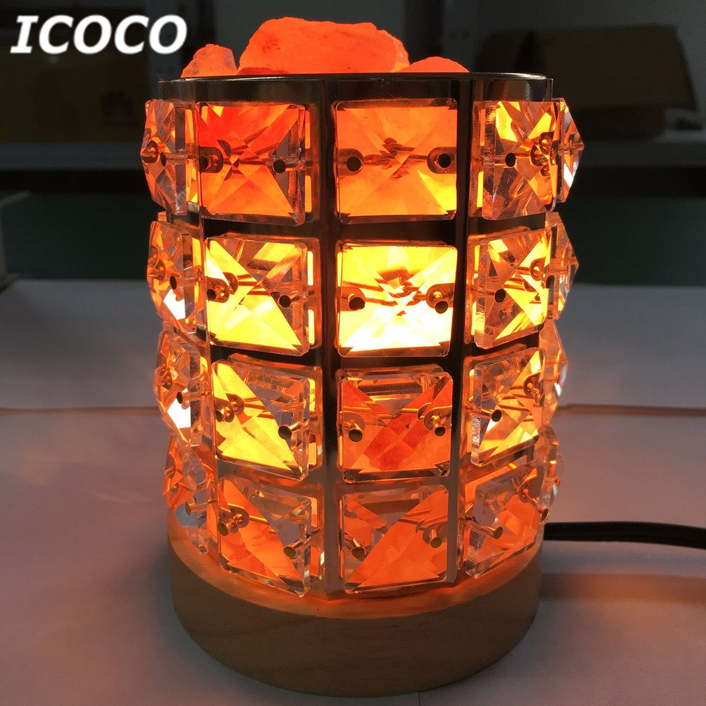 ICOCO Himalayan Natural Crystal Salt Light Air Purifying Himalayan Salt Lamp Atmosphere Light With Wooden Base Drop Shipping