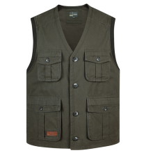 Summer Multi Pocket Men Vest Cotton Button Sleeveless Jacket With Many Pockets Thin Comfortable Khaki Army Green Tool Waistcoat