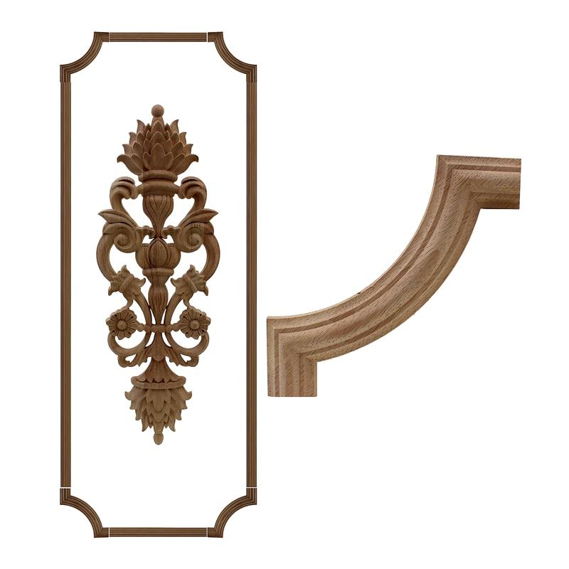 RUNBAZEF Цветочная деревянная резная угловая аппликация, деревянная резьба переводная наклейка в рамке шкафа, винтажный Декор для дома, декора...