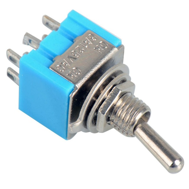 5pcs Blue 6 Pin DPDT ON ON Mini 6A125VAC Miniature Toggle Switches ...