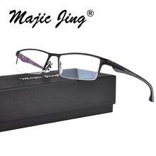 Magic Jing нержавеющая сталь и TR оптические рамки близорукость очки по рецепту очки P9065