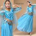 Bellydance Costume Professional 5 Piece/set (Head Chain+coat+Veil+Waist Chain+Skirt) belly dance costume set free size Free Ship