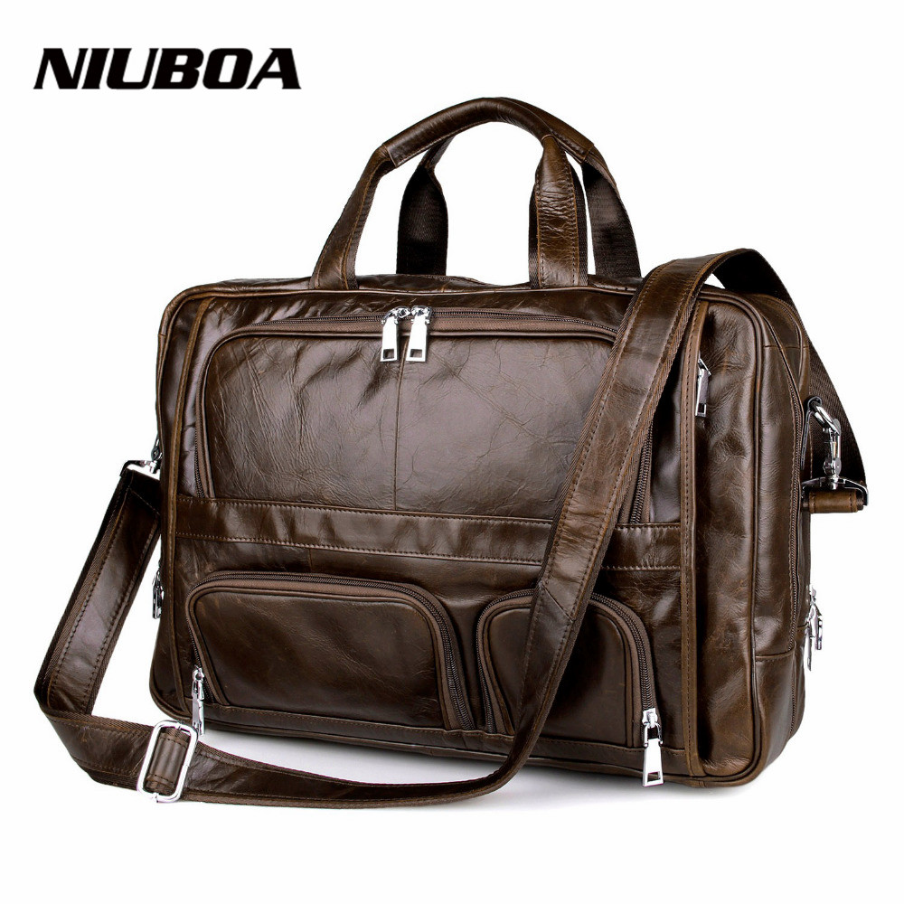Genuine Leather Bag Men Leather Briefcase Laptop Multi Function Business Handbags Shoulder Bags Portable Men Travel Bags все цены