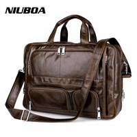Genuine Leather Bag Men Leather Briefcase Laptop Multi Function Business Handbags Shoulder Bags Portable Men Travel Bags
