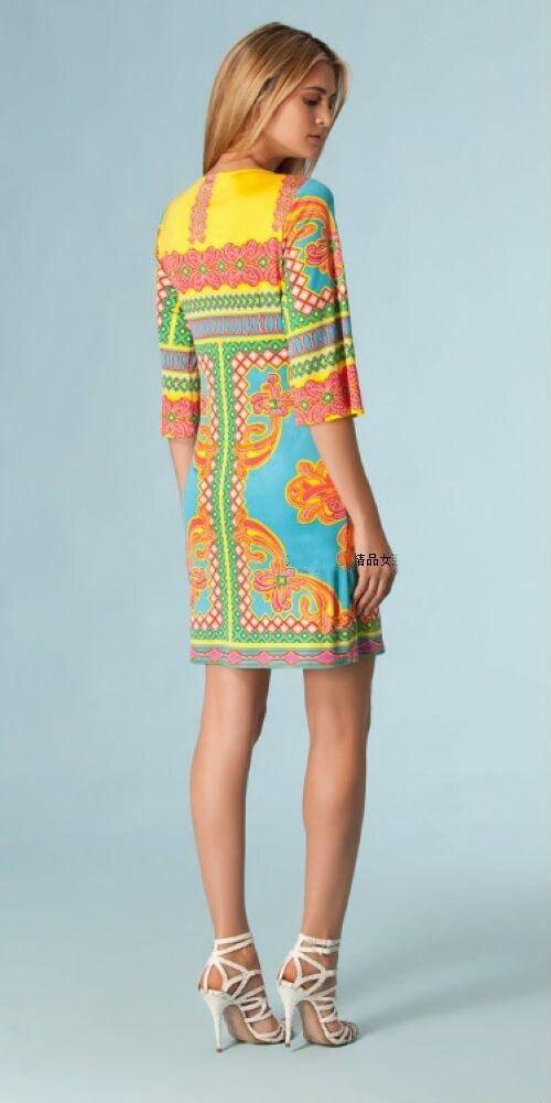 여자의 새로운 기하학 인쇄 절반 슬리브 스트레치 뜨개질 실크 저지 슬림 드레스-에서드레스부터 여성 의류 의  그룹 2