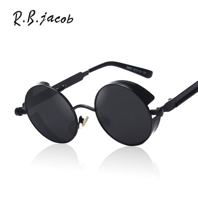 7fc33188c9 Gothic Steampunk Mens Sunglasses Coating Mirrored Women Sunglasses Round  Circle Sun glasses Steam punk Clear Transparent optics