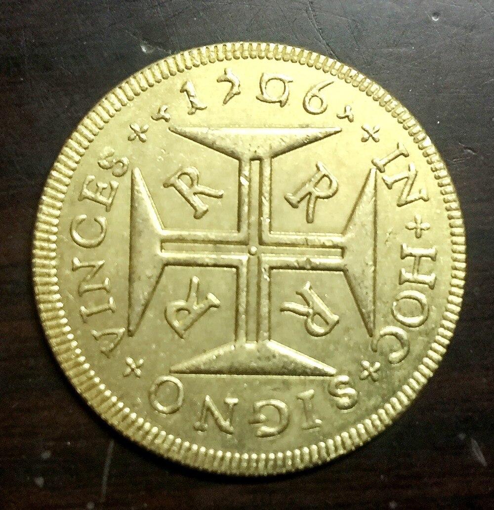1706 Бразилия 4000 Reis-Педро II Копировать 22 К позолоченные монеты