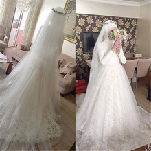 Muslim vestidos de novia Arabic Wedding Dress 2016 Puffy Lace Appliques Bridal Dresses Hijab Long Sleeve