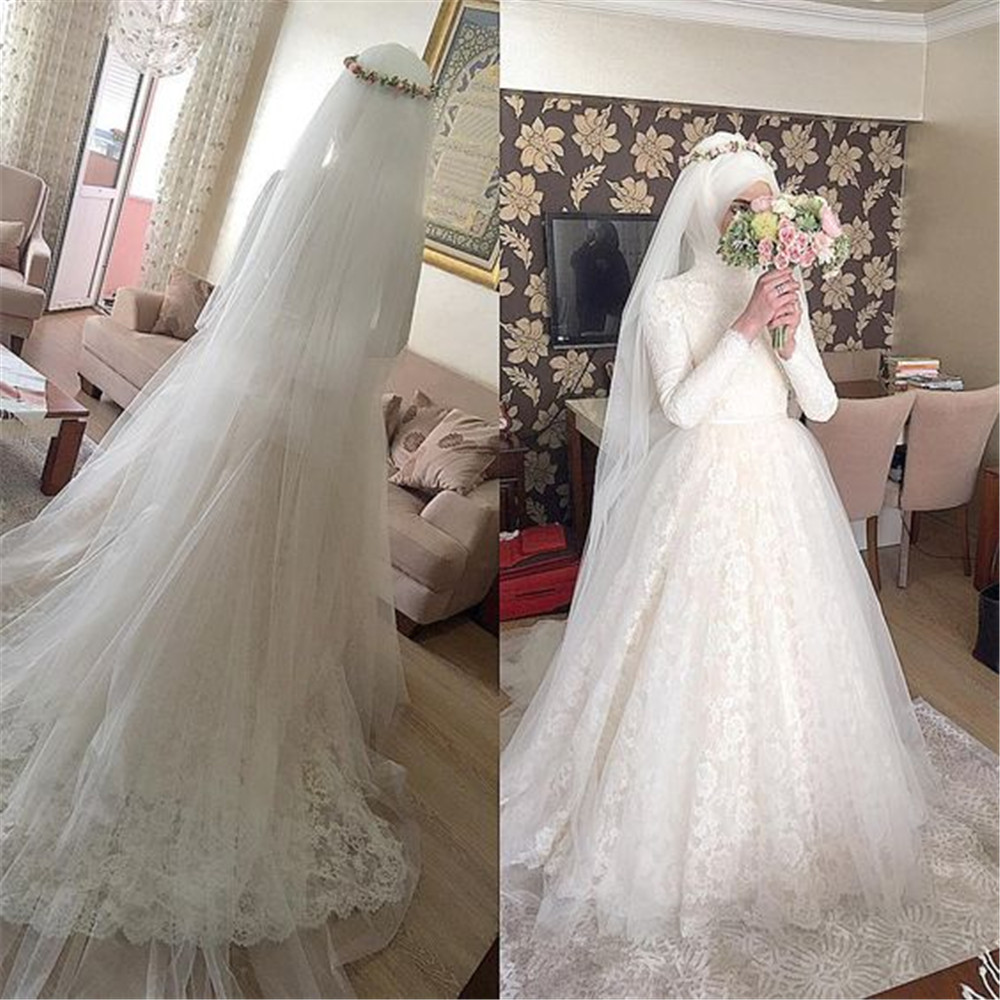 Muslim vestidos de novia Arabic Wedding Dress 2016 Puffy Lace Appliques Bridal Dresses font b Hijab