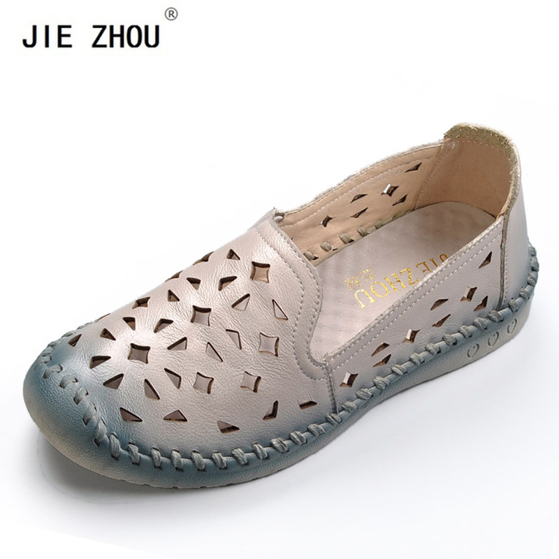 2019 Summer Shoes Woman Genuine Leather Flat Sandals Breathable Soft Outsole Casual Loafers Ethnic Style Women