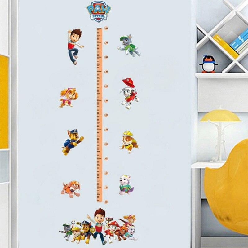 pat patrouille stickers muraux 3d dessin anime chien patrouille chambre d enfants autocollants jouets pour enfants enfant mesure hauteur autocollant